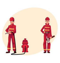 firefighter fireman in red protective suit vector image