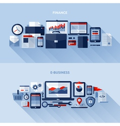 Flat design elements of finance and e-business vector image vector image