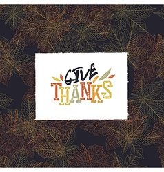 Give Thanks Postcard Happy Thanksgiving greeting vector image vector image