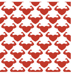 Red strong hearts seamless pattern vector
