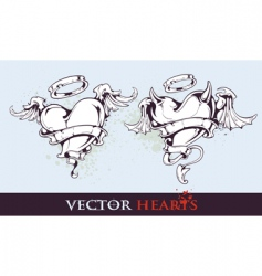 two tattoo styled hearts vector image vector image
