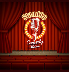 comedy show theater scene with red curtains vector image vector image