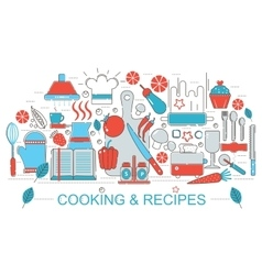 Modern Flat thin Line design kitchen Cooking and vector image vector image