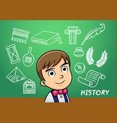 school boy write history sign object in school vector image vector image