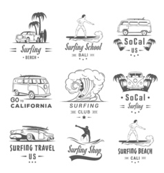 Set surf badges label and logos vector