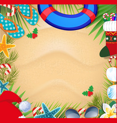 christmas beach frame with space for text vector image