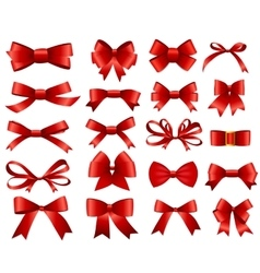 Red Ribbon and Bow Set for Your Design vector image