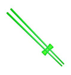 wooden chopsticks in green design vector image vector image