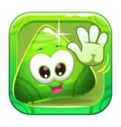 App icon with funny cute green character vector image vector image