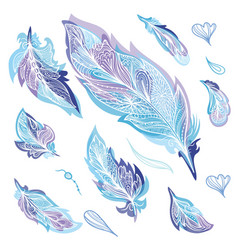 blue zentangle feathers set vector image vector image