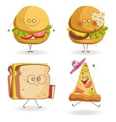 cheerful fast food cartoon characters with human vector image