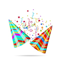 Colorful party hats with confetti for your holiday vector image