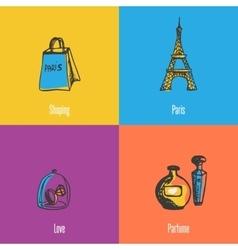 French national symbols icons set vector