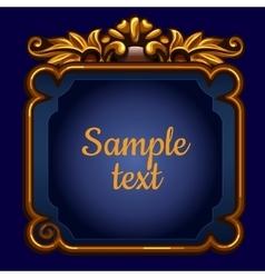 Golden surround frame on a blue background vector image vector image