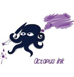 Octopus and ink vector image vector image