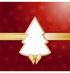 Red christmas tree background and border vector image