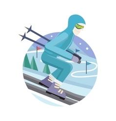 Skier on Slope in Flat Design vector image