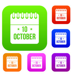 10 october calendar set collection vector
