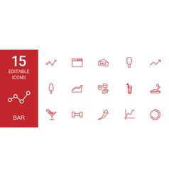 15 bar icons vector image