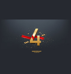 4th year anniversary background vector