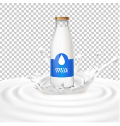 A glass bottle with milk vector