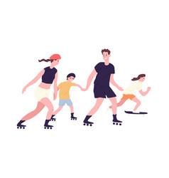 Adorable family on roller skates and skateboard vector