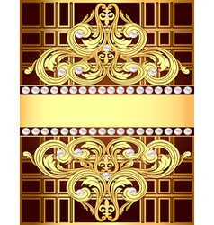background with a strip of gold ornaments and pear vector image
