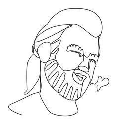 Bearded man portrait one line facial expression vector
