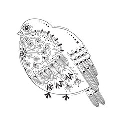 bird with patterns and flowers tattoo body vector image