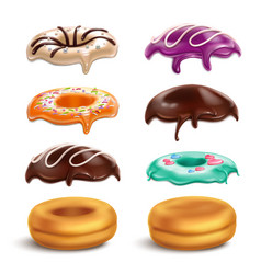 Biscuits donuts frostings realistic set vector