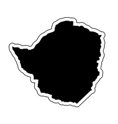 black silhouette of the country zimbabwe with the vector image