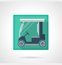 Blue golf car flat square icon vector