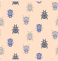 Blue line style beetle seamless pattern vector