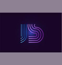 blue pink js j s gradient alphabet letter vector image