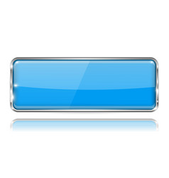 Blue rectangle glass button 3d icon with chrome vector