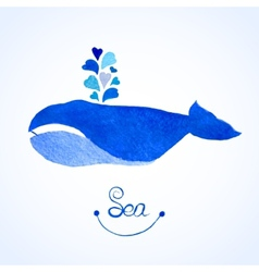 Blue whale Watercolor whale witn vector image