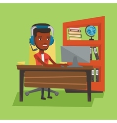 Business man with headset working at office vector
