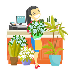 Business owner holding a bouquet in a flower shop vector