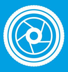Camera aperture icon white vector