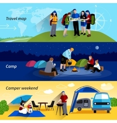 Camper People Banners Set vector