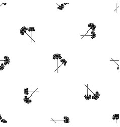carnation pattern seamless black vector image