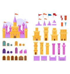 Cartoon castle fairytale medieval tower vector