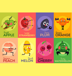 cartoon funny fruits cards vector image
