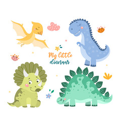 Childish set with cute baby dino collection vector