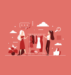 Choose to buy clothes in clothing fashion store vector