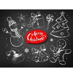 Christmas chalked line art set vector
