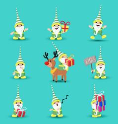 Christmas elf funny holiday cartoon set vector