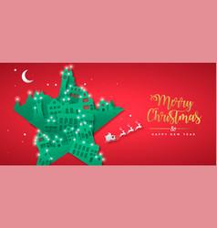Christmas new year papercut star winter city house vector