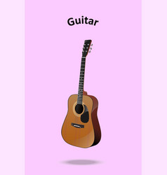 classic guitar on pastel pink background vector image