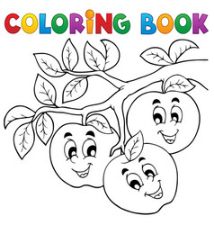 coloring book fruit theme 1 vector image